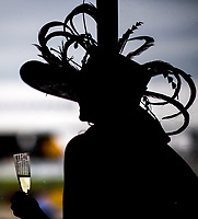 BALTIMORE, MD - MAY 20: A woman wears a festive hat and holds her drink while watching undercard races from inside the grandstand on Preakness Stakes Day at Pimlico Race Course on May 20, 2017 in Baltimore, Maryland.(Photo by Scott Serio/Eclipse Sportswire/Getty Images)
