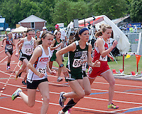 Springfield Catholic junior Kelly Devlin sprints off the start line enroute to a 10th place finish in the Class 3 Girls 1600 meters in 5:20.46.