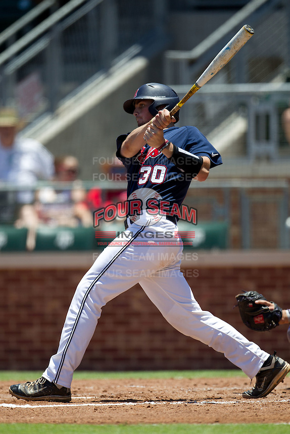 Catcher Will Allen #30 of the Ole Miss Rebels swings during the NCAA Regional baseball game against the Texas Christian University Horned Frogs on June 1, 2012 at Blue Bell Park in College Station, Texas. Ole Miss defeated TCU 6-2. (Andrew Woolley/Four Seam Images).