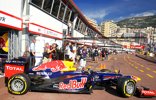 24.05.2012.Monte Carlo, Monaco.  German Formula One driver Sebastian Vettel of Red Bull drives his car out of the pit area during the first practice session at the F1 race track of Monte Carlo, 24 May 2012. The Grand Prix will take place on 27 May.