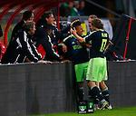 Nederland, Utrecht, 26 september  2012.Seizoen 2012-2013.KNVB Beker.FC Utrecht-Ajax.Tobias Sana (3e van rechts) van Ajax juicht nadat hij de 0-1 heeft gescoord. Daley Blind (r.) en Siem de Jong (2e van rechts) feliciteren hem.