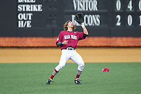 Harvard Crimson left fielder Trent Bryan (23) settles under a fly ball during the game against the Wake Forest Demon Deacons at David F. Couch Ballpark on March 5, 2016 in Winston-Salem, North Carolina.  The Crimson defeated the Demon Deacons 6-3.  (Brian Westerholt/Four Seam Images)