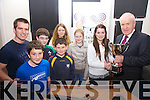 The winners of the South Kerry Clan Gathering Tag Rugby held in Valentia on Saturday went to the Hussey Clan pictured here with Minister Jimmy Deenihan  who made the presentation in the Royal Hotel were front l-r; Fionáin Hussey, Joe Lynch, back l-r; David Hussey, Thomas Hussey, Clíonadh Murtagh, Ellen O'Sullivan, Kayleigh Hussey & Minister Jimmy Deenihan.