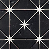 Orion, a waterjet stone mosaic, shown in honed Nero Marquina and polished Calacatta, is part of the Trove® collection for New Ravenna.