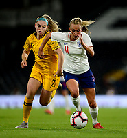 Toni Duggan of England in action with Ellie Carpenter of Australia during the Women's International friendly match between England Women and Australia at Ashton Gate, Bristol, England on 9 October 2018. Photo by Bradley Collyer / PRiME Media Images.