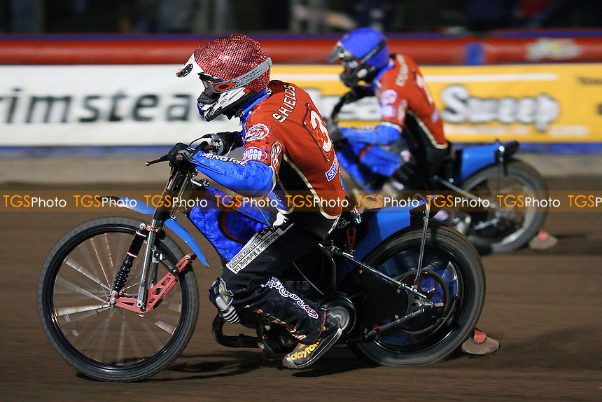 Heat 12: Adam Shields (red) and Joonas Kylmakorpi romp to a 5-1 - Lakeside Hammers vs Ipswich Witches - Elite League Speedway at Arena Essex Raceway - 02/05/08 - MANDATORY CREDIT: Gavin Ellis/TGSPHOTO. Self-Billing applies where appropriate. NO UNPAID USE. Tel: 0845 094 6026