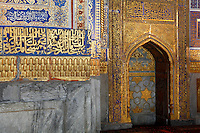 Detail of mirhab, Tillyah-Kori Madrasah, 1646-60, Registan, Samarkand, Uzbekistan, pictured on July 15, 2010, in the morning. The Tillyah-Kori (gilded) Madrasah is part of the Registan Ensemble, surrounding a magnificent square. Commissioned by Yalangtush Bakhadur it is not only a school but also the grand mosque whose lavishly gilded main hall in Kundal style justifies the name. Samarkand, a city on the Silk Road, founded as Afrosiab in the 7th century BC, is a meeting point for the world's cultures. Its most important development was in the Timurid period, 14th to 15th centuries. Picture by Manuel Cohen.