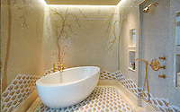 This custom bathroom features handmade New Ravenna mosaic tile shown in polished Sable Onyx, Honey Onyx and Cloud Nine.  Shown in June 2014 issue of Forbes Life. Installed by Mitch Trilling from Trilling Tile.<br />