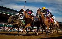 ARCADIA, CA - OCTOBER 06: Whitmore #11, ridden by Manny Franco defeats Awesome Banner #1 with Jose Lezcano and Limousine Liberal #5 with Jose Ortiz to win the Stoll Keenon Ogden Phoenix at Keeneland Race Course on October 06, 2017 in Lexington, Kentucky. (Photo by Alex Evers/Eclipse Sportswire/Getty Images)