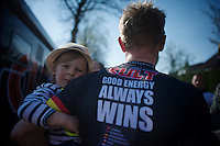 """Good energy always wins""; Linus Gerdemann's (DEU/Cult) son joins daddy in the post-race interviews<br /> <br /> <br /> 50th Amstel Gold Race 2015"
