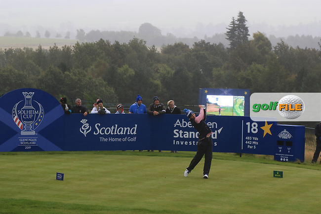 Anne Van Dam of Team Europe on the 18th tee during Day 2 Fourball at the Solheim Cup 2019, Gleneagles Golf CLub, Auchterarder, Perthshire, Scotland. 14/09/2019.<br /> Picture Thos Caffrey / Golffile.ie<br /> <br /> All photo usage must carry mandatory copyright credit (© Golffile | Thos Caffrey)