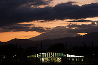 Mount Fuji at sunset seen from Yamato Yutori no Mori Park, Yamato, Kanagawa, Japan. Sunday April 15th 2018