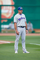 Midland RockHounds manager Fran Riordan (39) during a game against the Northwest Arkansas Naturals on May 27, 2017 at Arvest Ballpark in Springdale, Arkansas.  NW Arkansas defeated Midland 3-2.  (Mike Janes/Four Seam Images)