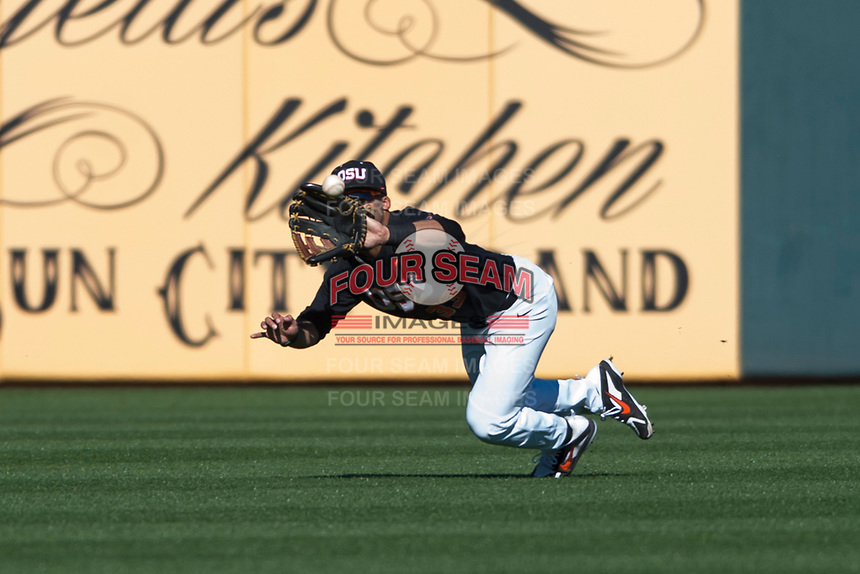 Oregon State Beavers center fielder Preston Jones (33) makes a diving catch during a game against the Gonzaga Bulldogs on February 16, 2019 at Surprise Stadium in Surprise, Arizona. Oregon State defeated Gonzaga 9-3. (Zachary Lucy/Four Seam Images)