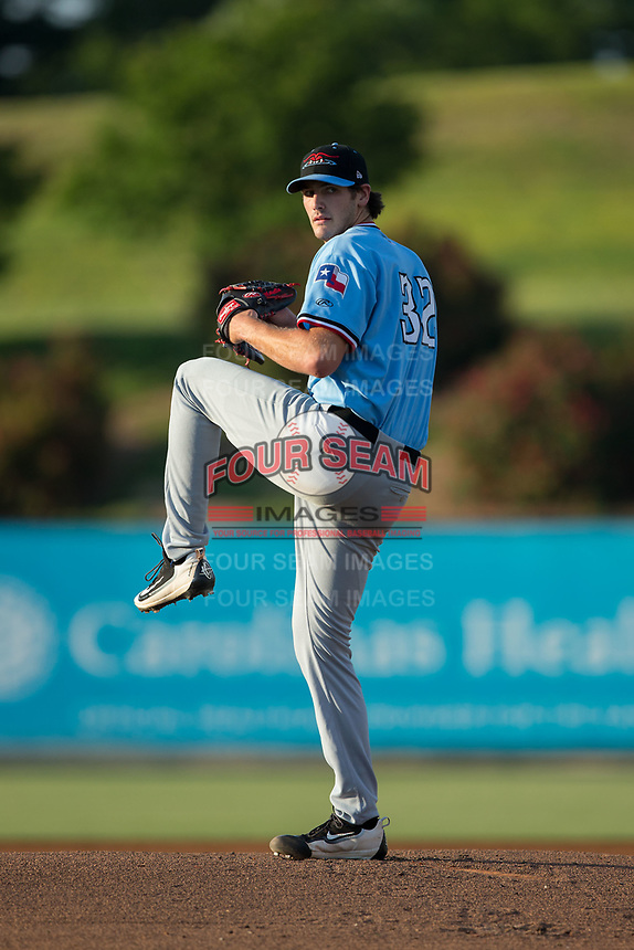 Hickory Crawdads starting pitcher Michael Matuella (32) in action against the Kannapolis Intimidators at Kannapolis Intimidators Stadium on May 18, 2017 in Kannapolis, North Carolina.  The Crawdads defeated the Intimidators 6-4.  (Brian Westerholt/Four Seam Images)