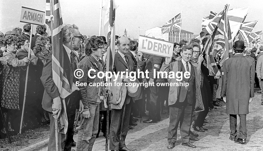 Supporters from Armagh and Londonderry among massive attendance at the Ulster Vanguard Rally in Ormeau Park, Belfast, N Ireland, 18th March 1972, 19720318010106<br />