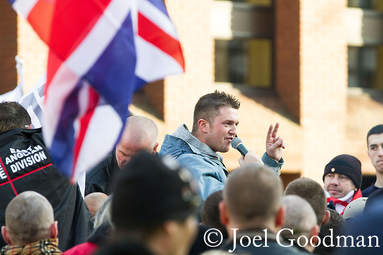 © Joel Goodman - 07973 332324 . 11/12/2010 . Peterborough , UK . EDL leader TOMMY ROBINSON ( Stephen Yaxley-Lennon ) speaks . The English Defence League ( EDL ) hold a demonstration in Peterborough . Photo credit : Joel Goodman