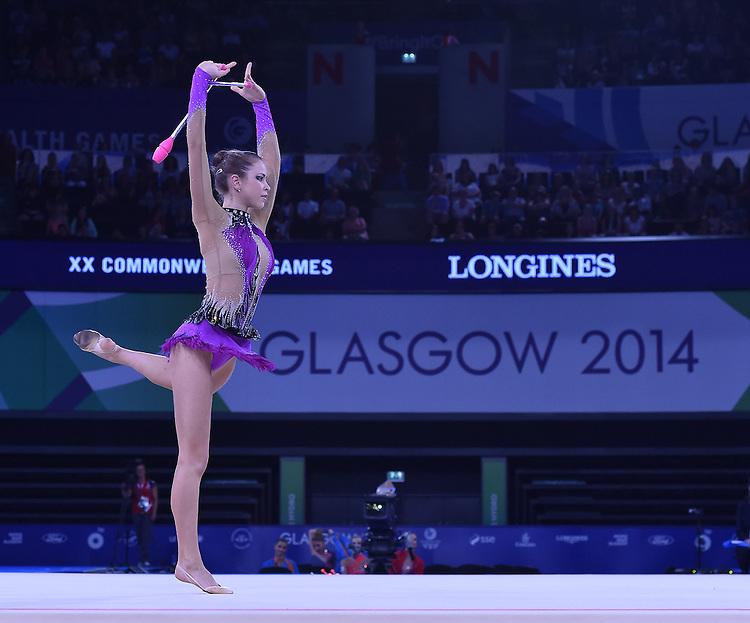 Wales' Francesca Jones competes in rhythmic gymnastics team final and individual qualification subdivision 2<br /> <br /> Photographer Chris Vaughan/CameraSport<br /> <br /> 20th Commonwealth Games - Day 1 - Thursday 24th July 2014 - Rhythmic Gymnastics - The SSE Hydro - Glasgow - UK<br /> <br /> &copy; CameraSport - 43 Linden Ave. Countesthorpe. Leicester. England. LE8 5PG - Tel: +44 (0) 116 277 4147 - admin@camerasport.com - www.camerasport.com