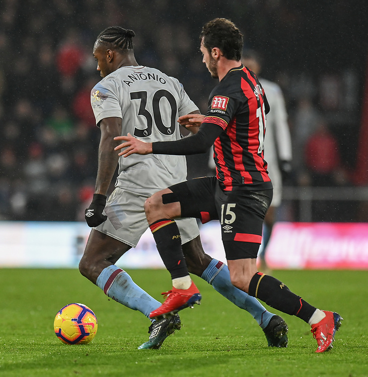 Bournemouth's Adam Smith (right) vies for possession with West Ham United's Michail Antonio (left) <br /> <br /> Photographer David Horton/CameraSport<br /> <br /> The Premier League - Bournemouth v West Ham United - Saturday 19 January 2019 - Vitality Stadium - Bournemouth<br /> <br /> World Copyright &copy; 2019 CameraSport. All rights reserved. 43 Linden Ave. Countesthorpe. Leicester. England. LE8 5PG - Tel: +44 (0) 116 277 4147 - admin@camerasport.com - www.camerasport.com