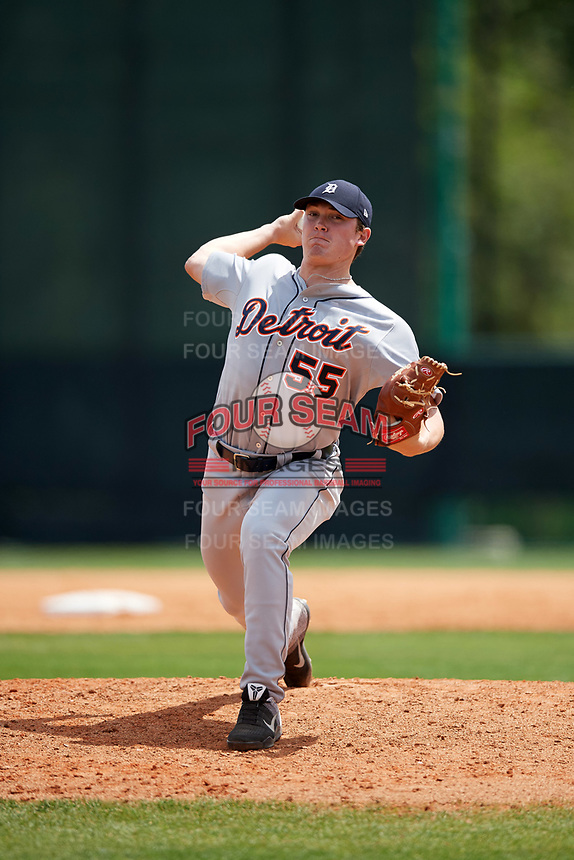 Detroit Tigers pitcher Beau Burrows (55) during a minor league Spring Training game against the Atlanta Braves on March 25, 2017 at ESPN Wide World of Sports Complex in Orlando, Florida.  (Mike Janes/Four Seam Images)
