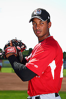 Tri-City ValleyCats pitcher Ebert Rosario #29 poses for a photo before a game against the Batavia Muckdogs at Dwyer Stadium on July 15, 2011 in Batavia, New York.  Batavia defeated Tri-City 4-3.  (Mike Janes/Four Seam Images)