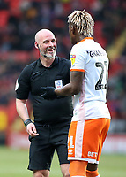 Referee Kevin Johnson shares a joke with Blackpool's Armand Gnanduillet<br /> <br /> Photographer David Shipman/CameraSport<br /> <br /> The EFL Sky Bet League One - Charlton Athletic v Blackpool - Saturday 16th February 2019 - The Valley - London<br /> <br /> World Copyright © 2019 CameraSport. All rights reserved. 43 Linden Ave. Countesthorpe. Leicester. England. LE8 5PG - Tel: +44 (0) 116 277 4147 - admin@camerasport.com - www.camerasport.com