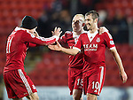St Johnstone v Aberdeen.....07.12.13    SPFL<br /> Niall McGinn celebrates at full time with Johnny Hayes and Nicky Low<br /> Picture by Graeme Hart.<br /> Copyright Perthshire Picture Agency<br /> Tel: 01738 623350  Mobile: 07990 594431