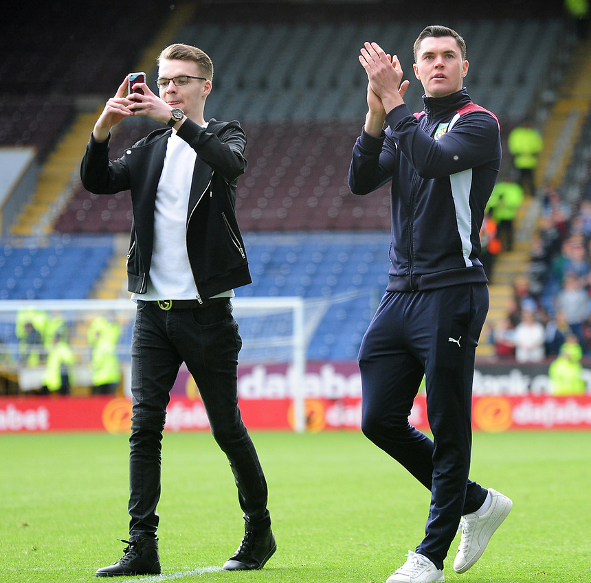 Burnley's Michael Keane applauds the fans at the end of the game<br /> <br /> Photographer Andrew Vaughan/CameraSport<br /> <br /> The Premier League - Burnley v West Ham United - Sunday 21st May 2017 - Turf Moor - Burnley<br /> <br /> World Copyright &copy; 2017 CameraSport. All rights reserved. 43 Linden Ave. Countesthorpe. Leicester. England. LE8 5PG - Tel: +44 (0) 116 277 4147 - admin@camerasport.com - www.camerasport.com