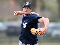 March 25, 2010:  Pitcher Andrew Brackman of the New York Yankees organization during a Spring Training game at the Carpenter Complex in Clearwater, FL.  Photo By Mike Janes/Four Seam Images