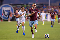 SAN JOSÉ CA - JULY 27: Cristian Espinoza #10 and Tommy Smith #5 during a Major League Soccer (MLS) match between the San Jose Earthquakes and the Colorado Rapids on July 27, 2019 at Avaya Stadium in San José, California.