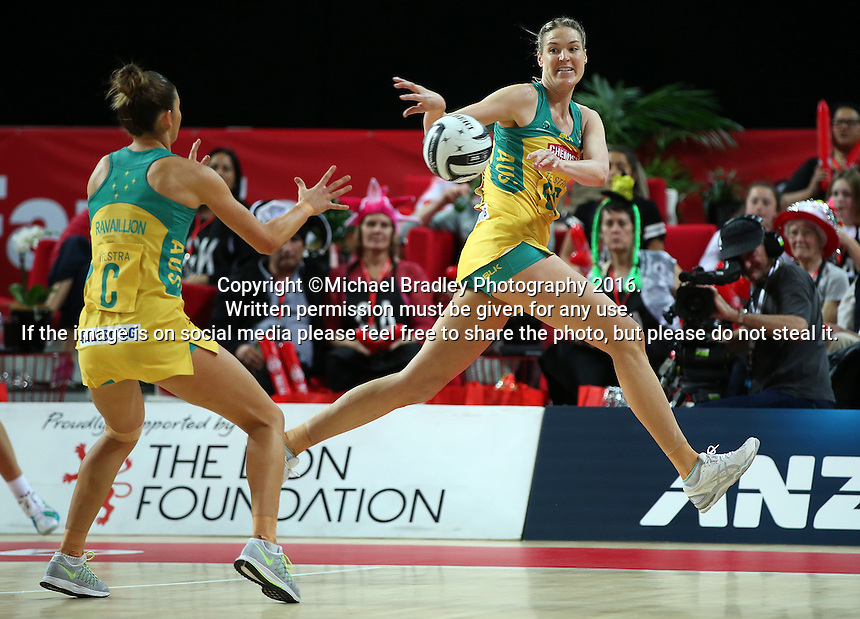 15.10.2016 Australia's Caitlin Bassett in action during the Silver Ferns v Australia netball test match played at Vector Arena in Auckland. Mandatory Photo Credit ©Michael Bradley.