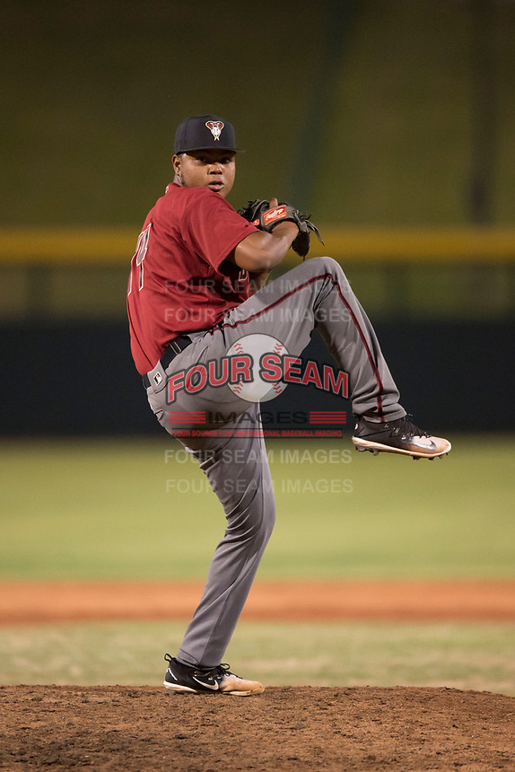 AZL Diamondbacks relief pitcher Ezequiel De La Cruz (14) delivers a pitch during an Arizona League game against the AZL Cubs 1 at Sloan Park on June 18, 2018 in Mesa, Arizona. AZL Diamondbacks defeated AZL Cubs 1 7-0. (Zachary Lucy/Four Seam Images)