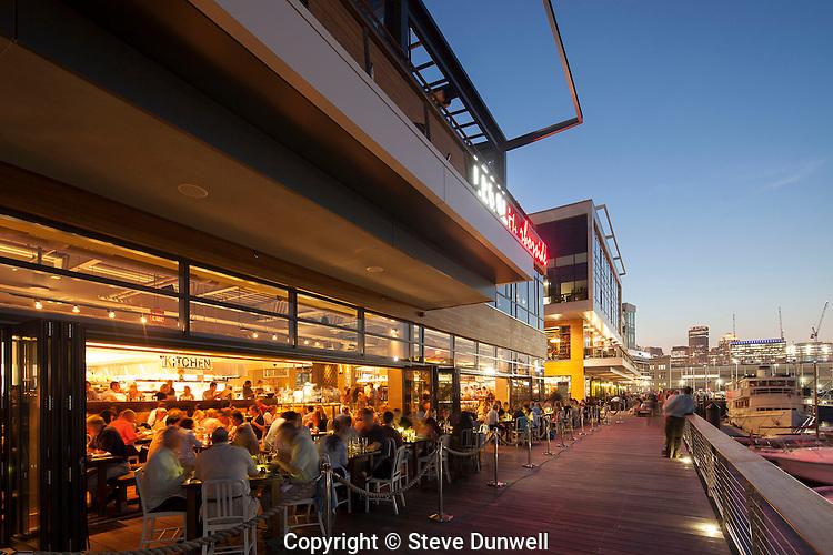 Legal Harborside restaurant, Liberty Wharf  sunset, Boston, MA (Seaport area)