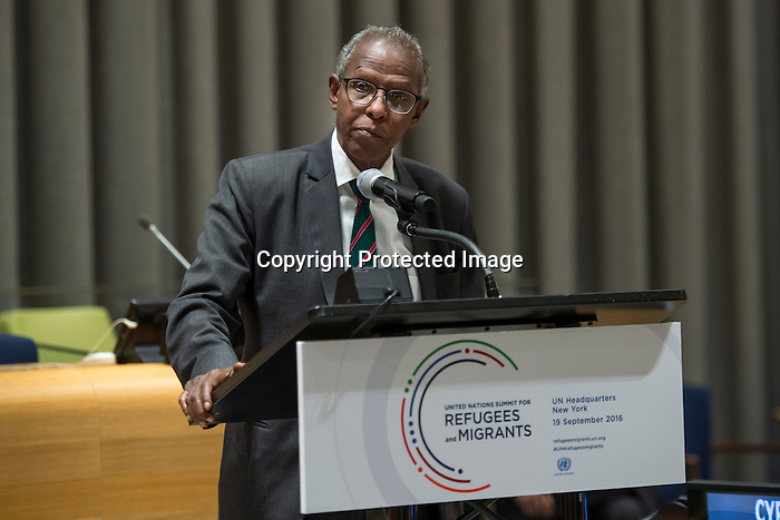 General Assembly Seventy-first session High-level plenary meeting on addressing large movements of refugees and migrants.<br /> <br /> <br /> Eritrea