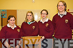 Stacey Kelleher,  Siobhan Murphy, Eileen O'Donoghue and Mark Lynch of Ardscoil Phobal Bheanntrai? who won the first round of the Concern debating competition against Pobailscoil Inbhear Sceine on Tuesday night