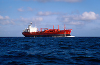 Seascape of a tanker underway in fair weather.
