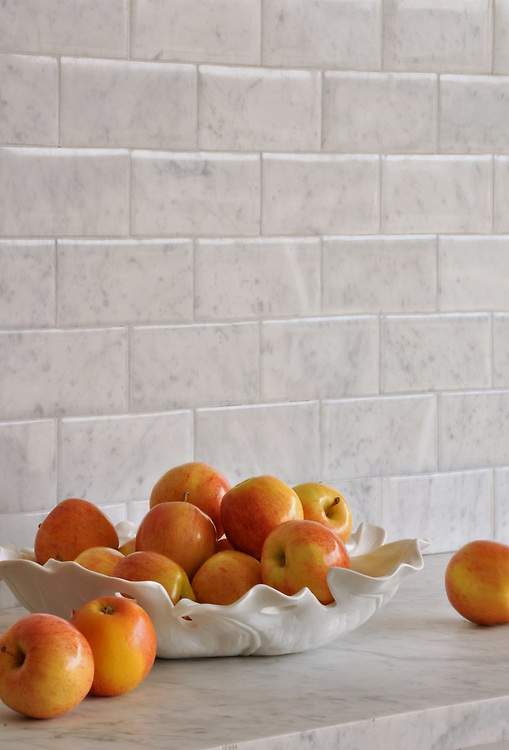 These 3x6 inch bricks shown in Bianco Carrara with a Lucido finish were designed by Giovanni Barbieri for New Ravenna.<br /> *Special order material. Not kept in stock.  Please allow 16 weeks for delivery<br /> <br /> For pricing samples and design help, click here: http://www.newravenna.com/showrooms/