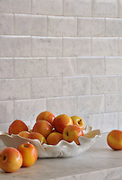 These 3x6 inch bricks shown in Bianco Carrara with a Lucido finish were designed by Giovanni Barbieri for New Ravenna.<br />