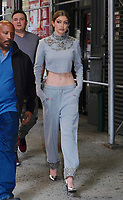 www.acepixs.com<br /> <br /> April 12 2017, New York City<br /> <br /> Model Gigi Hadid dispalys her impossibly flat stomach as she arrives back at her East Village apartment on April 12 2017 in New York City<br /> <br /> By Line: Curtis Means/ACE Pictures<br /> <br /> <br /> ACE Pictures Inc<br /> Tel: 6467670430<br /> Email: info@acepixs.com<br /> www.acepixs.com