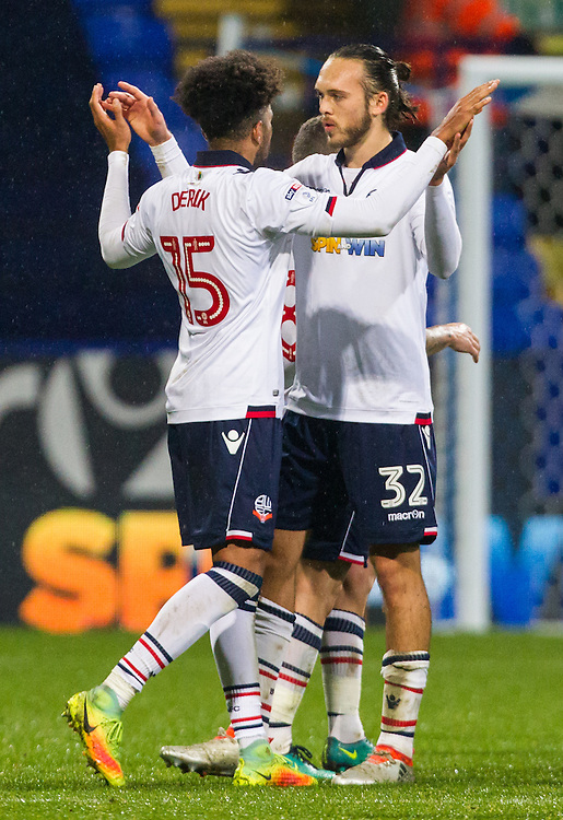 Bolton Wanderers' Tom Thorpe and Derik Osede celebrate after the final whistle<br /> <br /> Photographer Alex Dodd/CameraSport<br /> <br /> The EFL Sky Bet League One - Bolton Wanderers v Coventry City - Tuesday 22nd November 2016 - Macron Stadium - Bolton<br /> <br /> World Copyright &copy; 2016 CameraSport. All rights reserved. 43 Linden Ave. Countesthorpe. Leicester. England. LE8 5PG - Tel: +44 (0) 116 277 4147 - admin@camerasport.com - www.camerasport.com