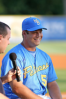 J.J. Hoover #50 of the Myrtle Beach Pelicans being interviewed  before a game against the Frederick Keys on April 30, 2010 in Myrtle Beach, SC.