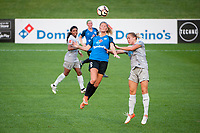 Kansas City, MO - Thursday August 10, 2017: Katie Bowen, Abby Dahlkemper during a regular season National Women's Soccer League (NWSL) match between FC Kansas City and the North Carolina Courage at Children's Mercy Victory Field.