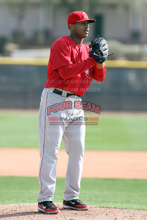 Trevor Reckling. Los Angeles Angels spring training workouts at the Angels complex, Tempe, AZ - 02/24/2010.Photo by:  Bill Mitchell/Four Seam Images.