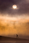 A photo of a man running along the shore of a foggy lake at dawn near Truckee California