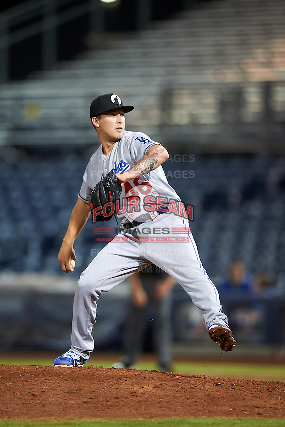 Glendale Desert Dogs pitcher Corey Copping (46), of the Los Angeles Dodgers organization, during a game against the Peoria Javelinas on October 18, 2016 at Peoria Stadium in Peoria, Arizona.  Peoria defeated Glendale 6-3.  (Mike Janes/Four Seam Images)