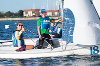 Skipper Grace Vincens,'20, and Mary Grace Bean '18, lines up for a start as the Salve Regina Sailing Team practices in the Newport Harbor.