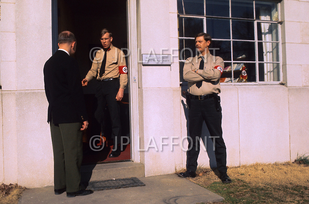 February 10, 1972, Arlington, Virginia.  Two troopers in front of the White National Socialist Party headquarters.