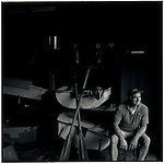 JULY 1995    - MANLY , Australia   -   A boat builder on the wharf at Manly on Sydney's North Side..