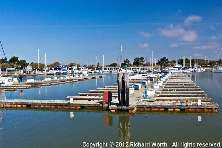 Rows of empty berths at the San Leandro Marina, San Leandro, California.