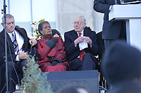 Photo &copy;Suzi Altman 12/9/17 Jackson,MS       Myrlie Evers- Williams widow of slain civil rights icon Medgar Evers, left is joined on the podium by Governor William Winters, right, at the opening of the Mississippi Civil Rights Museum. Myrlie Evers dedicated her late husband Medgar Evers archival papers to the MS Department of Archives and History, which helped established the museum.  Evers spoke to the crowd outside after President Trump made private remarks inside to a closed audience of invited guests and press only. <br />  Right before the ribbon cutting ceremony outside on the podium Mrs Evers said &quot; These museums are priceless, going through the museum of my history I felt the bullets and the fears, but I also felt the hope.&quot; President Trump had a very short private tour of the Civil Rights Museum and did not mingle outside or stop to talk with any visitors to the new Civil Rights  museum. Photo&copy;SuziAltman